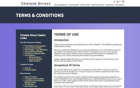 Screenshot of Terms Page chaletsdirect.com - Terms and Conditions - Chalets Direct - captured Sept. 4, 2016