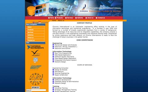 Screenshot of About Page chromaintegrated.com - Engineering Product & Services - captured Oct. 2, 2014