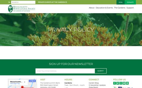 Screenshot of Privacy Page masshort.org - Privacy Policy - Massachusetts Horticultural Society   Massachusetts Horticultural Society - captured Oct. 1, 2018
