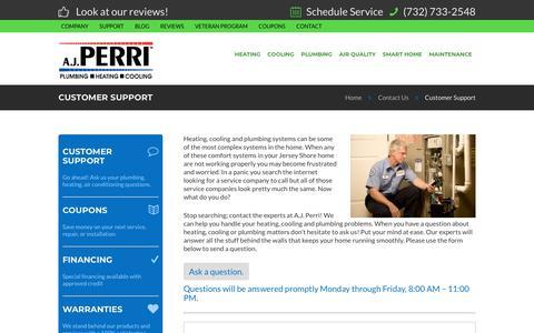 Screenshot of Support Page ajperri.com - Customer Support | New Jersey | AJ Perri - captured Sept. 24, 2018