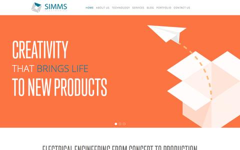 Screenshot of Home Page simmselectronics.com - Simms Electronics Inc. - captured Feb. 23, 2016