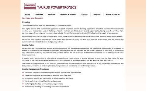 Screenshot of Services Page tauruspowertronics.com - Services and Support - captured Oct. 26, 2014