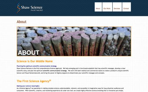 Screenshot of About Page shawscience.com - About » Shaw Science Partners - captured Oct. 9, 2014