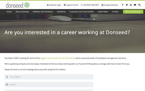 Screenshot of Jobs Page donseed.com - Donseed Careers: Looking for a change of career? | Donseed Biometrics - captured June 19, 2017