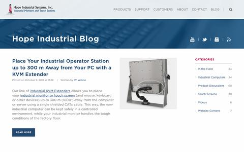 Screenshot of Blog hopeindustrial.com - Industrial Display News and Announcements - Hope Industrial Systems - captured Dec. 15, 2018