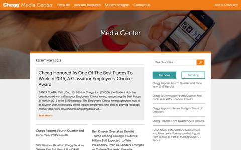 Screenshot of Press Page chegg.com - Corporate Blog - Media Center - captured March 27, 2016