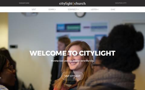 Screenshot of Home Page citylightphilly.com - Citylight Home | Citylight Church - captured July 31, 2017