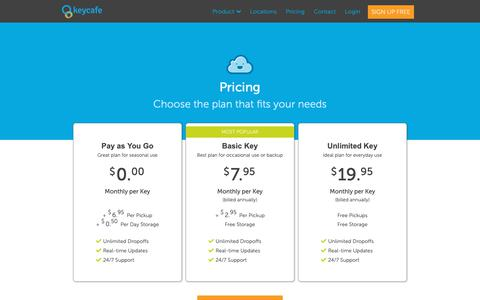 Screenshot of Pricing Page keycafe.com - Keycafe: Key Exchange - Simplified - captured Oct. 9, 2018