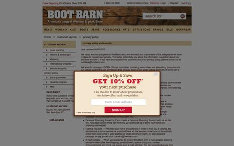 Screenshot of Privacy Page bootbarn.com - BootBarn -  BootBarn.com Privacy Policy - captured Oct. 1, 2015