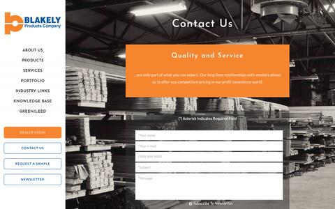 Screenshot of Contact Page blakelyproducts.com - Contact Us | Flooring Products | Blakely Products - captured Oct. 10, 2017