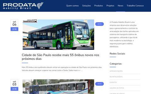 Screenshot of Press Page prodatamobility.com.br - News | PRODATA - captured Sept. 25, 2018