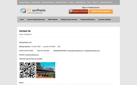 Screenshot of Contact Page rssynthesis.com - RS Synthesis   Contact Us - captured Nov. 2, 2017