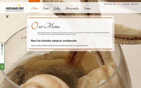 Screenshot of Menu Page monnalisarestaurant.it - Our Menu : Monnalisa Beach Bar Restaurant - captured Nov. 18, 2017