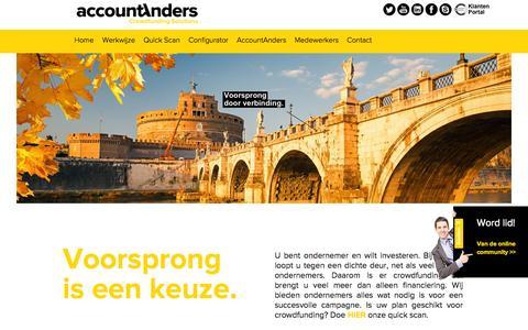 Screenshot of Home Page accountanders-crowdfunding-solutions.nl - AccountAnders Crowdfunding Solutions - captured Jan. 28, 2015