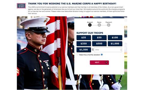 Screenshot of Landing Page uso.org - Donate | USO.org - captured Jan. 22, 2017