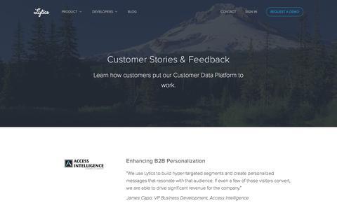 Screenshot of Testimonials Page getlytics.com - Customer Stories & Feedback - captured Dec. 4, 2015