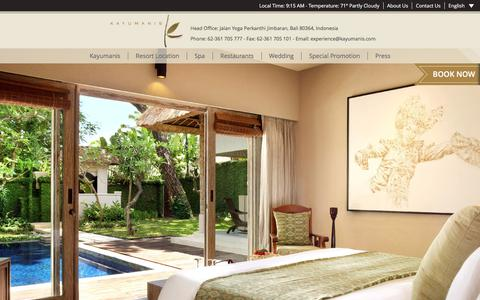 Screenshot of Home Page kayumanis.com - Kayumanis Private Villa & Spa - Where Life is a Private Celebration - captured June 9, 2017