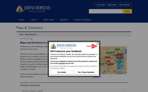Screenshot of Maps & Directions Page hopkinsmedicine.org - Directions to Johns Hopkins Medicine Locations - captured Oct. 3, 2018
