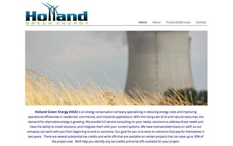Screenshot of Home Page hollandgreenenergy.com - Holland Green Energy - captured Sept. 30, 2014