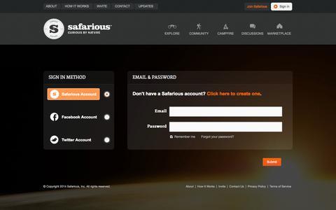 Screenshot of Login Page safarious.com - Safarious - Sign In - captured Sept. 23, 2014