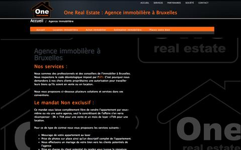 Screenshot of Services Page onerealestate.be - Agence immobilière «  One Real Estate - captured Oct. 6, 2014