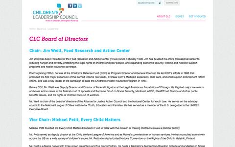 Screenshot of Team Page childrensleadershipcouncil.org - CLC Board of Directors  - Children's Leadership Council - captured Sept. 29, 2014