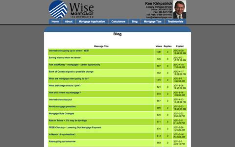 Screenshot of Blog wisemortgage.ca - Blog - Calgary Mortgage Broker - captured Oct. 7, 2014