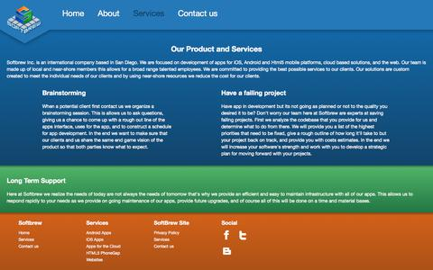 Screenshot of Services Page softbrew.com - Softbrew - captured Oct. 7, 2014