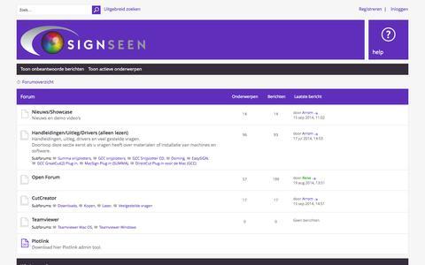 Screenshot of Support Page signseen.nl - Support Site Signseen • Forumoverzicht - captured Sept. 19, 2014