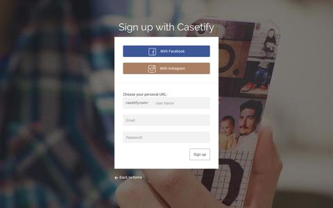 Screenshot of Signup Page casetify.com - Sign up - Casetify - captured Sept. 22, 2014
