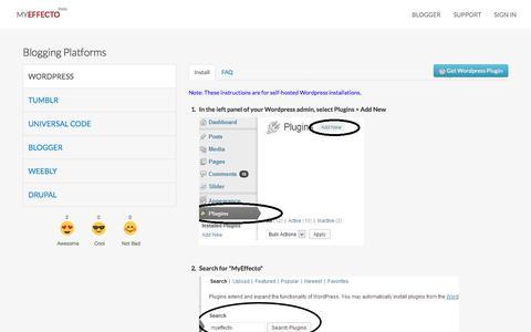 Screenshot of Support Page myeffecto.com - Support - Wordpress - captured Oct. 26, 2014