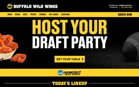 Screenshot of Home Page buffalowildwings.com - Buffalo Wild Wings® | Wings. Beer. Sports. - captured Aug. 9, 2017