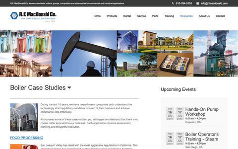 Screenshot of Case Studies Page rfmacdonald.com - Boiler Case Studies in Commercial and Industrial Markets - captured June 8, 2019