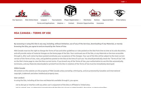Screenshot of Terms Page nsacanada.ca - Terms   NSA Canada - captured Sept. 21, 2018
