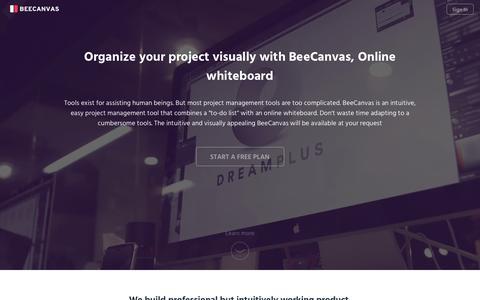 Screenshot of beecanvas.com - BeeCanvas – Online whiteboard + WorkFlowy to work visually - captured March 21, 2016