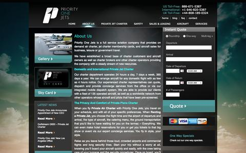 Screenshot of About Page priorityonejets.com - About Us   Priority One Jets - captured Sept. 30, 2014