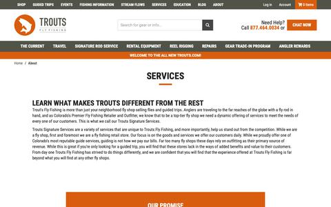 Screenshot of Services Page troutsflyfishing.com - Trouts Fly Fishing | Services - captured Nov. 16, 2018