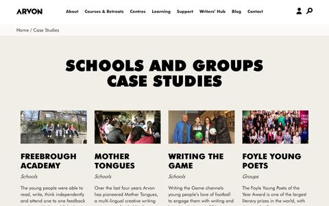 Screenshot of Case Studies Page arvon.org - Arvon   residential creative writing courses and retreats UK - captured Nov. 13, 2018