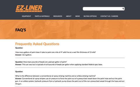 Screenshot of FAQ Page ezliner.com - FAQ's – EZ-Liner - captured July 12, 2017