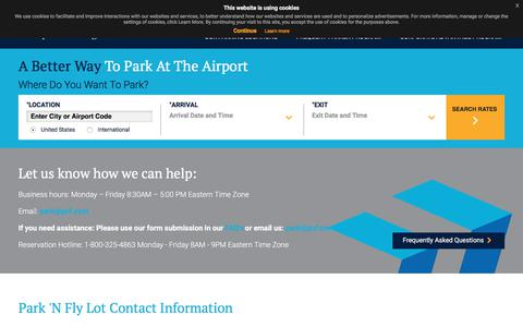 Screenshot of Contact Page pnf.com - Short Term Airport Parking | PNF | Contact | Park 'N Fly - captured Sept. 23, 2018