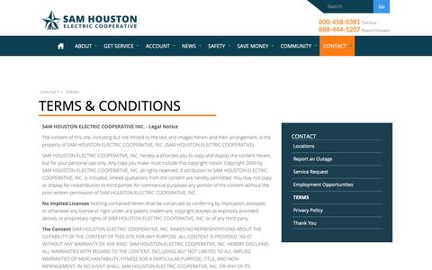 Screenshot of Terms Page samhouston.net - Terms & Conditions | Sam Houston Electric - captured Oct. 2, 2018