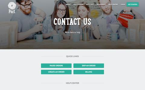 Screenshot of Contact Page pactcoffee.com - Pact | Contact Us - captured July 30, 2016