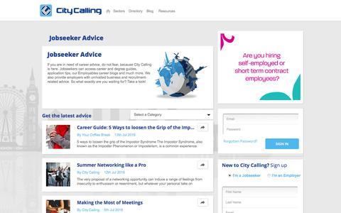 Screenshot of Blog citycalling.com - Jobseeker Advice | City Calling - captured July 13, 2016