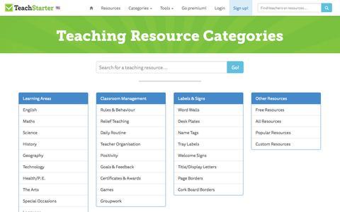 Screenshot of Site Map Page teachstarter.com - Teach Starter Sitemap - captured Oct. 26, 2014