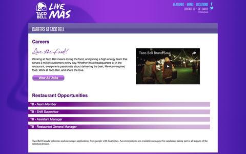 Screenshot of Jobs Page talcura.com - Taco Bell Careers - captured Jan. 17, 2017