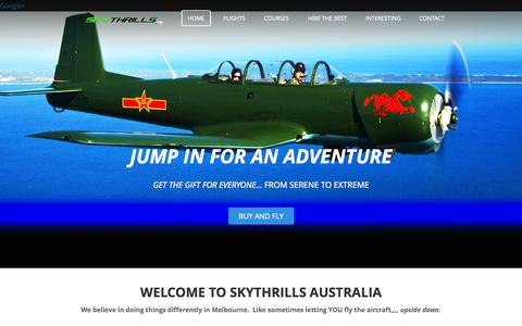 Screenshot of Home Page skythrills.com.au - SKYTHRILLS ACADEMY - The Ultimate in Gifts  - Jump In For An Adventure.  The Gift for Everyone from Extreme to Serene. We do things differently. Combat Adventure Flights - captured Oct. 3, 2014