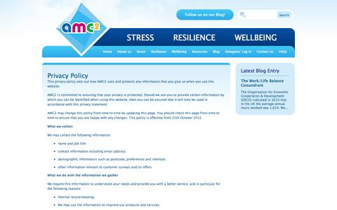 Screenshot of Privacy Page amc2.co.uk - Privacy Policy | Stress Management, Resilience and Wellbeing - captured Oct. 4, 2014