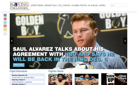 Screenshot of Home Page boxingchannel.tv - Boxing News. Watch Boxing Videos at BoxingChannel.tv - captured Sept. 25, 2014