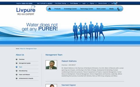 Screenshot of Team Page livpurewater.com captured Sept. 25, 2014