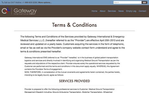 Screenshot of Terms Page gateway-ems.com - Terms & Conditions - Gateway International EMS - captured Oct. 2, 2014